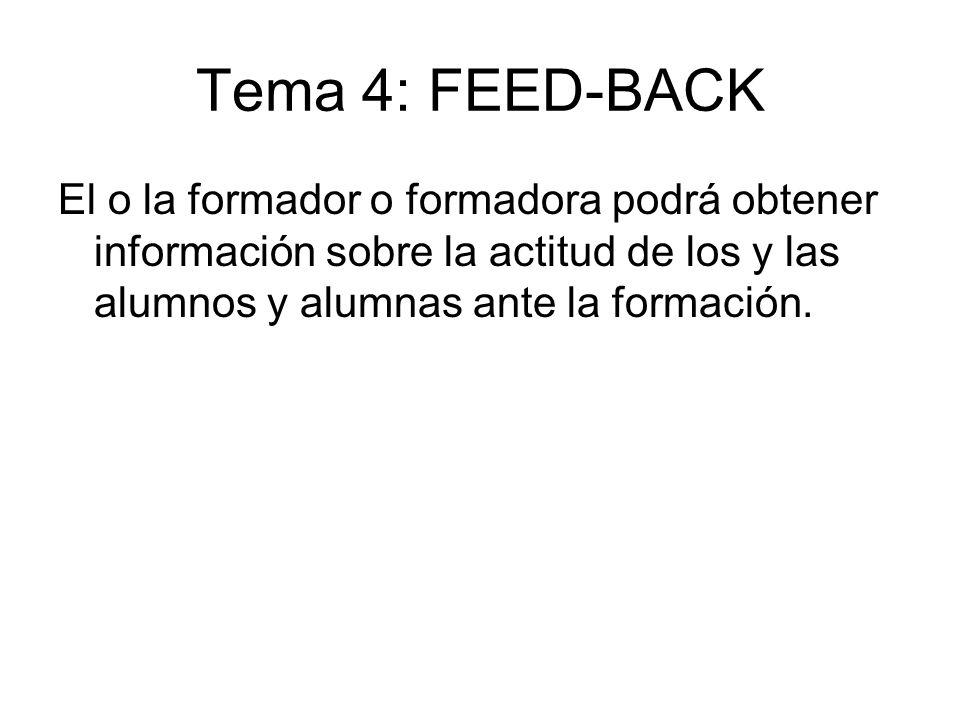 Tema 4: FEED-BACK El o la formador o formadora podrá obtener información sobre la actitud de los y las alumnos y alumnas ante la formación.