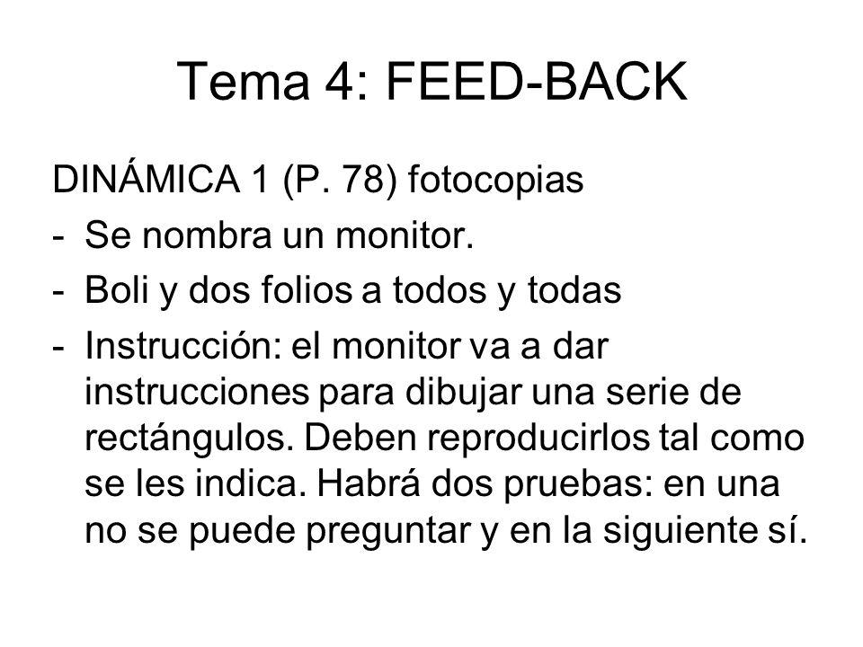 Tema 4: FEED-BACK DINÁMICA 1 (P. 78) fotocopias -Se nombra un monitor. -Boli y dos folios a todos y todas -Instrucción: el monitor va a dar instruccio