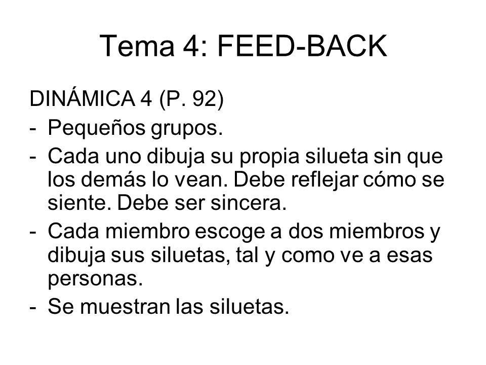Tema 4: FEED-BACK DINÁMICA 4 (P. 92) -Pequeños grupos. -Cada uno dibuja su propia silueta sin que los demás lo vean. Debe reflejar cómo se siente. Deb