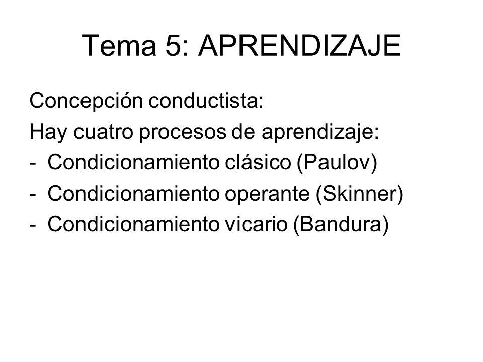 Tema 5: APRENDIZAJE Concepción conductista: Hay cuatro procesos de aprendizaje: -Condicionamiento clásico (Paulov) -Condicionamiento operante (Skinner