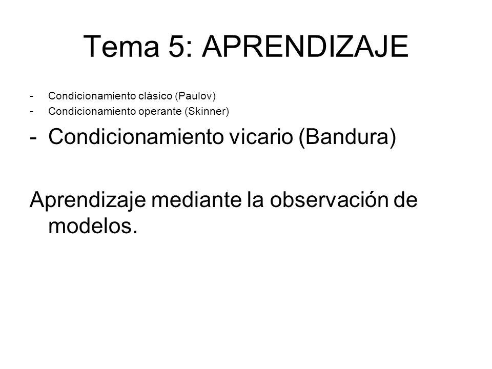 Tema 5: APRENDIZAJE -Condicionamiento clásico (Paulov) -Condicionamiento operante (Skinner) -Condicionamiento vicario (Bandura) Aprendizaje mediante l