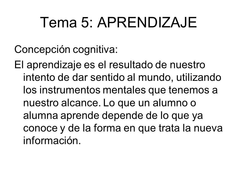 Tema 5: APRENDIZAJE Concepción cognitiva: El aprendizaje es el resultado de nuestro intento de dar sentido al mundo, utilizando los instrumentos menta