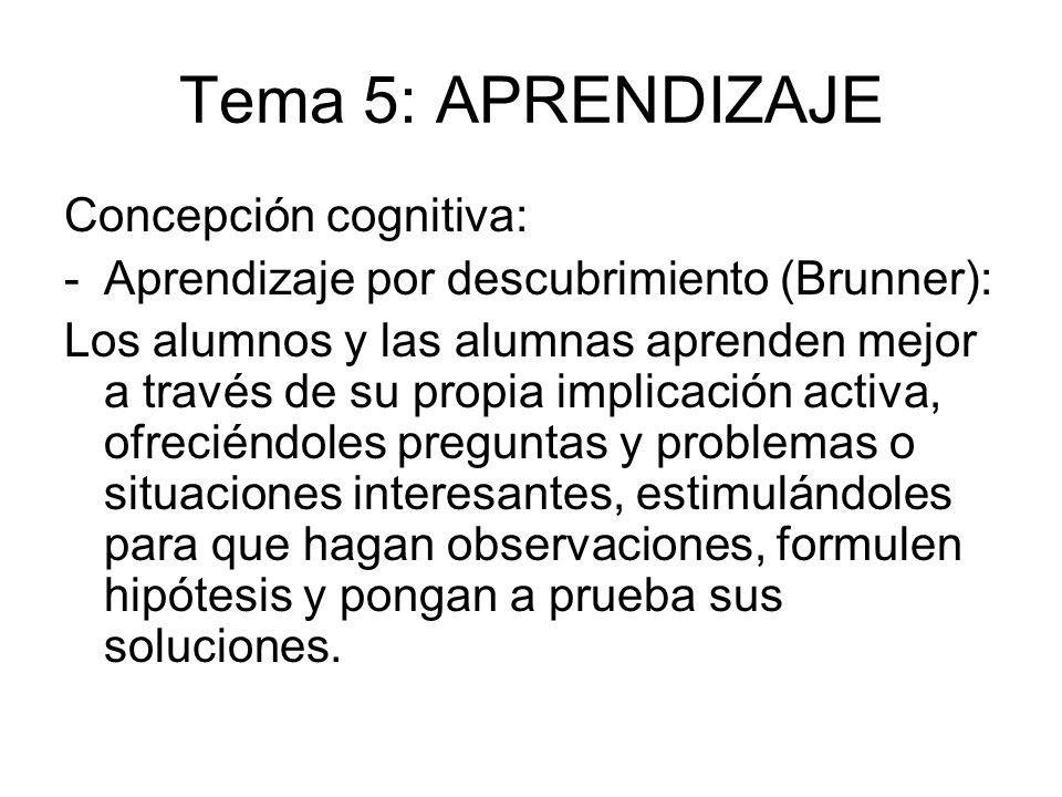 Tema 5: APRENDIZAJE Concepción cognitiva: -Aprendizaje por descubrimiento (Brunner): Los alumnos y las alumnas aprenden mejor a través de su propia im
