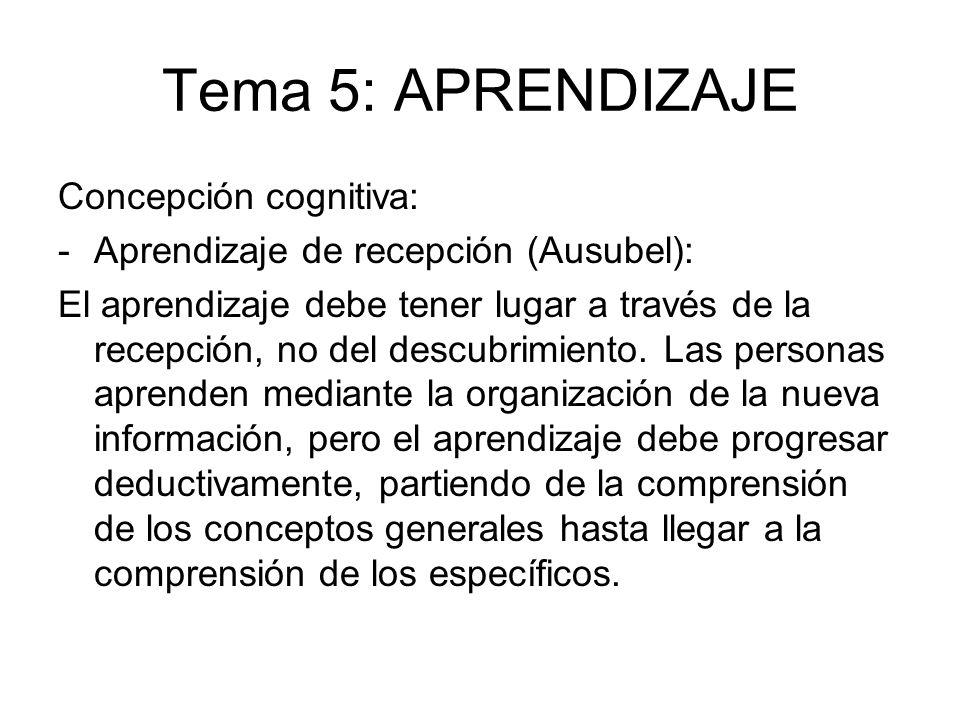 Tema 5: APRENDIZAJE Concepción cognitiva: -Aprendizaje de recepción (Ausubel): El aprendizaje debe tener lugar a través de la recepción, no del descub