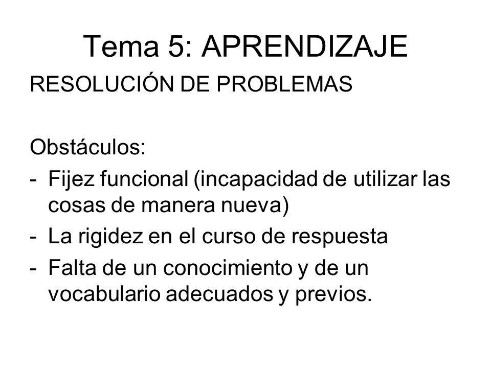 Tema 5: APRENDIZAJE RESOLUCIÓN DE PROBLEMAS Obstáculos: -Fijez funcional (incapacidad de utilizar las cosas de manera nueva) -La rigidez en el curso d