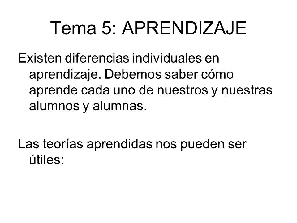 Tema 5: APRENDIZAJE Existen diferencias individuales en aprendizaje. Debemos saber cómo aprende cada uno de nuestros y nuestras alumnos y alumnas. Las