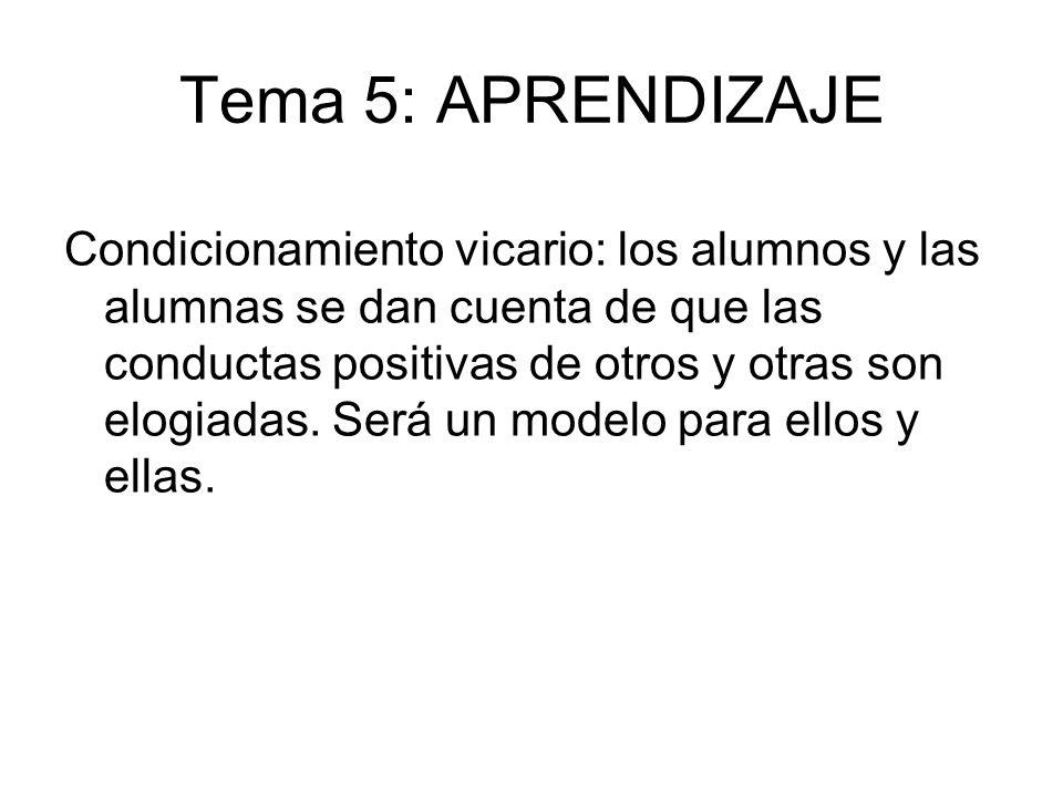Tema 5: APRENDIZAJE Condicionamiento vicario: los alumnos y las alumnas se dan cuenta de que las conductas positivas de otros y otras son elogiadas. S