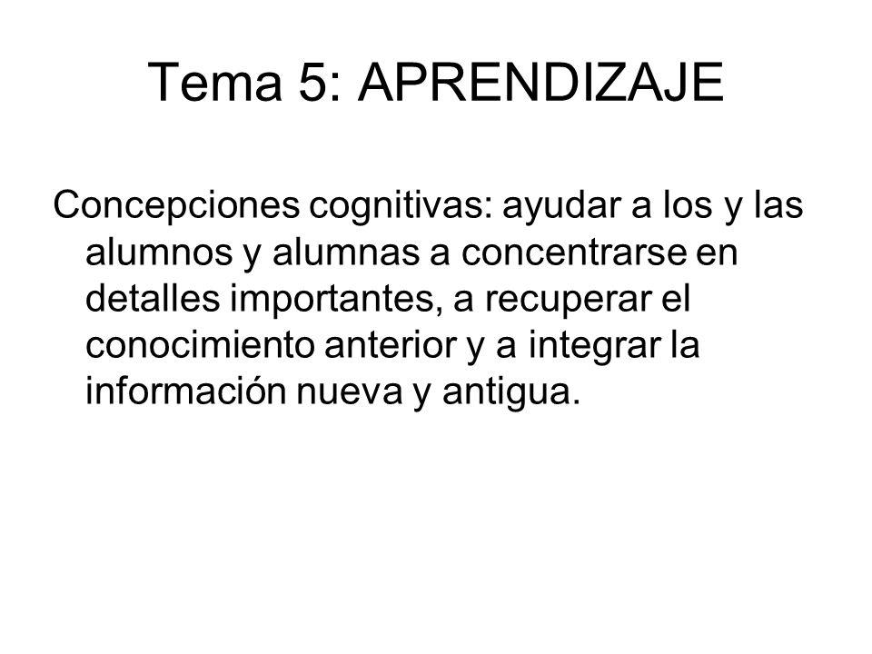 Tema 5: APRENDIZAJE Concepciones cognitivas: ayudar a los y las alumnos y alumnas a concentrarse en detalles importantes, a recuperar el conocimiento