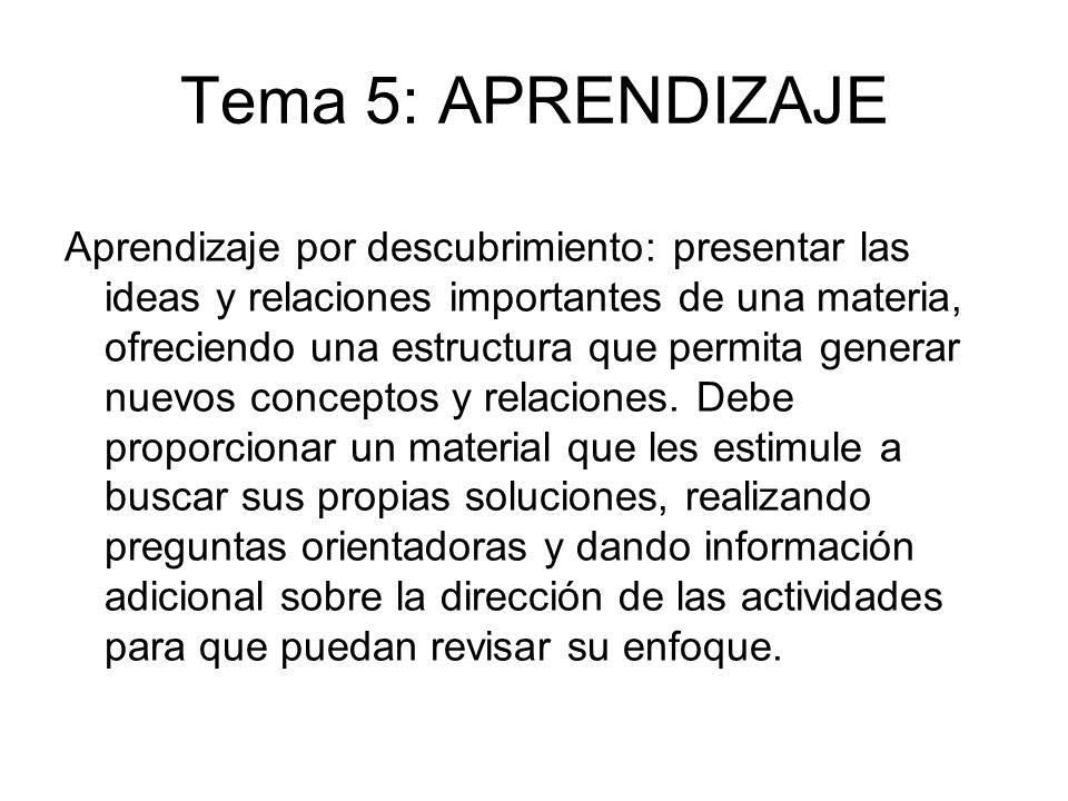 Tema 5: APRENDIZAJE Aprendizaje por descubrimiento: presentar las ideas y relaciones importantes de una materia, ofreciendo una estructura que permita