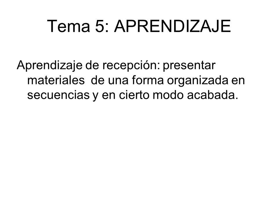 Tema 5: APRENDIZAJE Aprendizaje de recepción: presentar materiales de una forma organizada en secuencias y en cierto modo acabada.