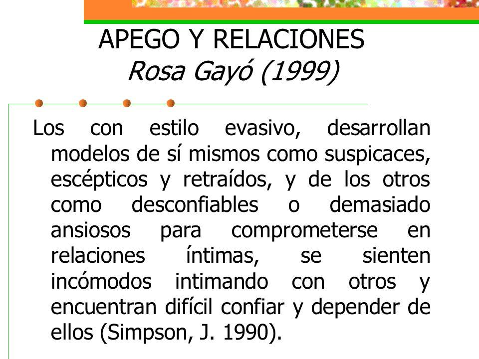 APEGO Y RELACIONES Rosa Gayó (1999) Los con estilo evasivo, desarrollan modelos de sí mismos como suspicaces, escépticos y retraídos, y de los otros como desconfiables o demasiado ansiosos para comprometerse en relaciones íntimas, se sienten incómodos intimando con otros y encuentran difícil confiar y depender de ellos (Simpson, J.