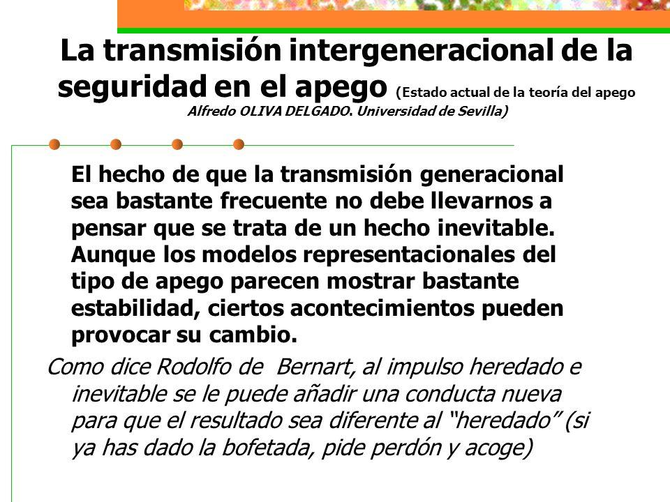 La transmisión intergeneracional de la seguridad en el apego (Estado actual de la teoría del apego Alfredo OLIVA DELGADO.