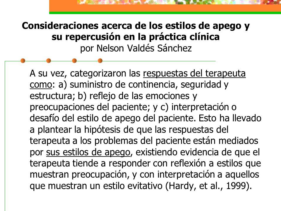 A su vez, categorizaron las respuestas del terapeuta como: a) suministro de continencia, seguridad y estructura; b) reflejo de las emociones y preocupaciones del paciente; y c) interpretación o desafío del estilo de apego del paciente.