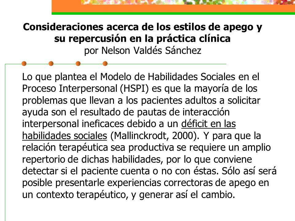 Lo que plantea el Modelo de Habilidades Sociales en el Proceso Interpersonal (HSPI) es que la mayoría de los problemas que llevan a los pacientes adultos a solicitar ayuda son el resultado de pautas de interacción interpersonal ineficaces debido a un déficit en las habilidades sociales (Mallinckrodt, 2000).
