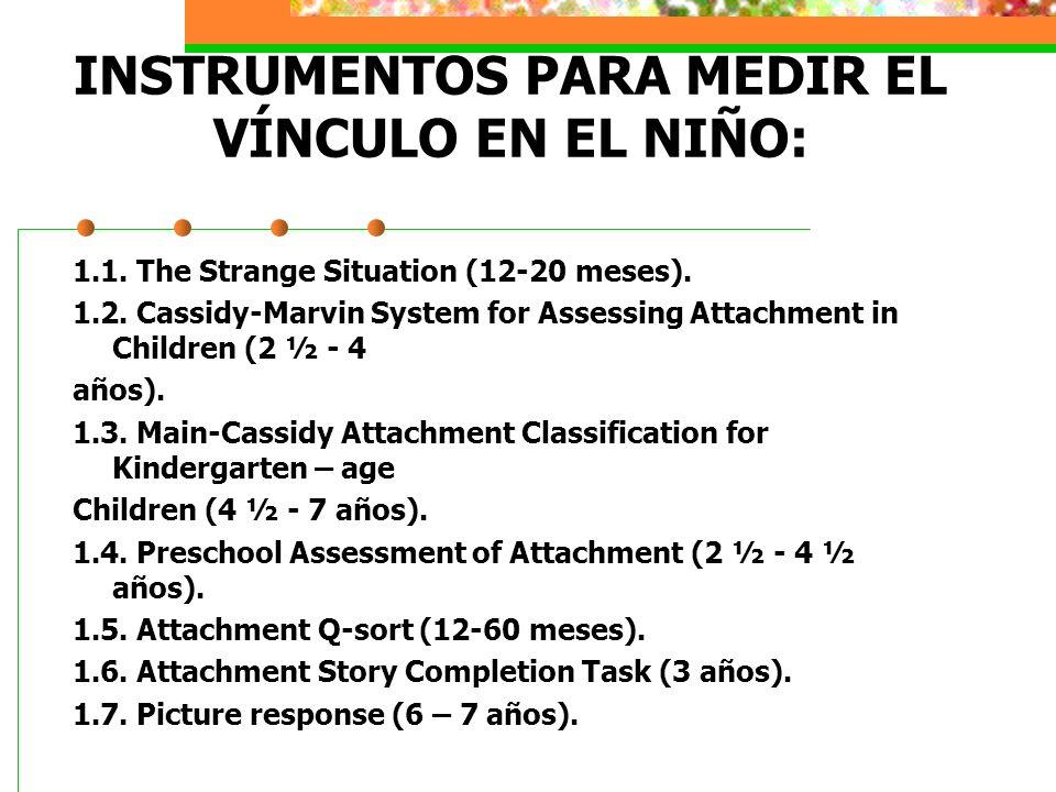 INSTRUMENTOS PARA MEDIR EL VÍNCULO EN EL NIÑO: 1.1.