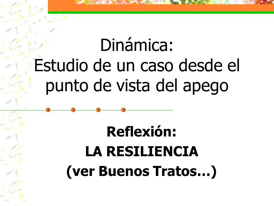 Dinámica: Estudio de un caso desde el punto de vista del apego Reflexión: LA RESILIENCIA (ver Buenos Tratos…)