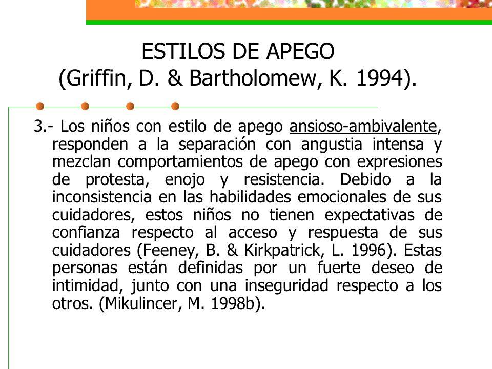 ESTILOS DE APEGO (Griffin, D.& Bartholomew, K. 1994).