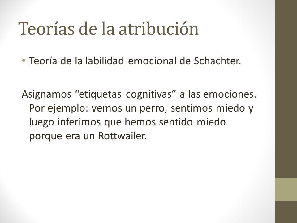 Teorías de la atribución Teoría de la labilidad emocional de Schachter. Asignamos etiquetas cognitivas a las emociones. Por ejemplo: vemos un perro, s