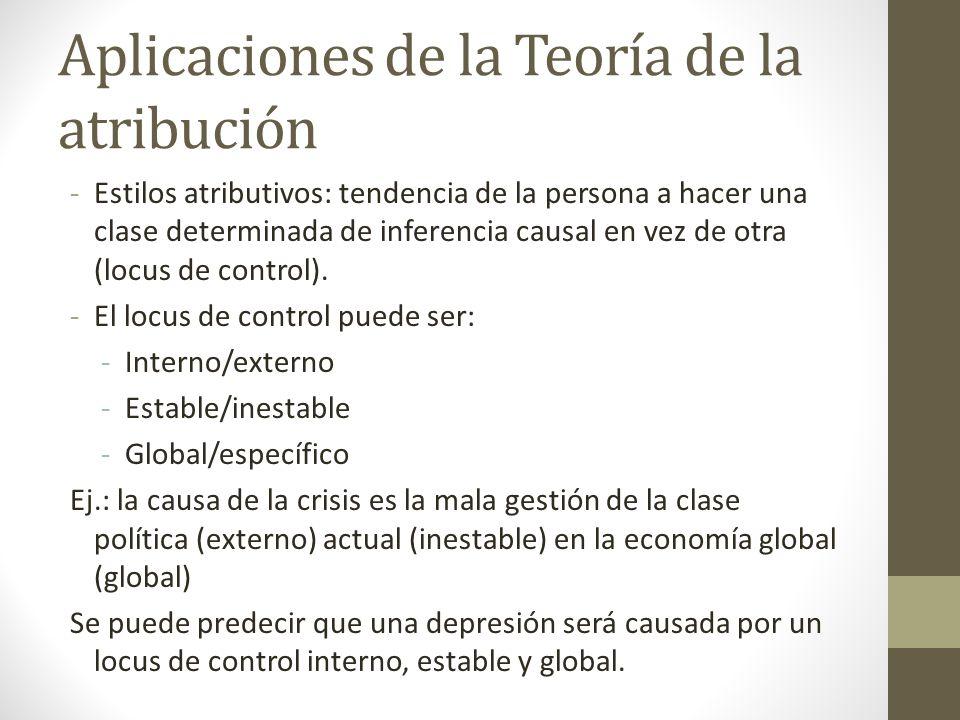 Aplicaciones de la Teoría de la atribución -Estilos atributivos: tendencia de la persona a hacer una clase determinada de inferencia causal en vez de