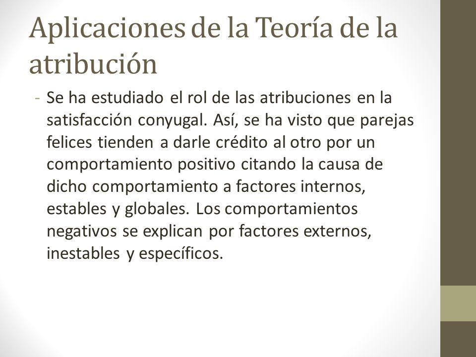 Aplicaciones de la Teoría de la atribución -Se ha estudiado el rol de las atribuciones en la satisfacción conyugal. Así, se ha visto que parejas felic