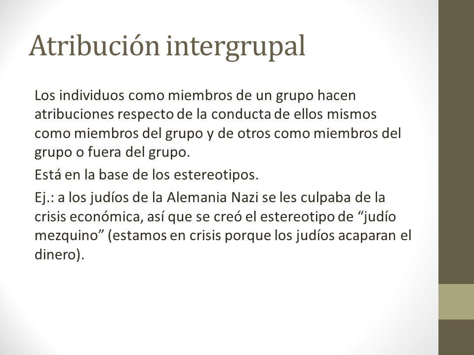 Atribución intergrupal Los individuos como miembros de un grupo hacen atribuciones respecto de la conducta de ellos mismos como miembros del grupo y d