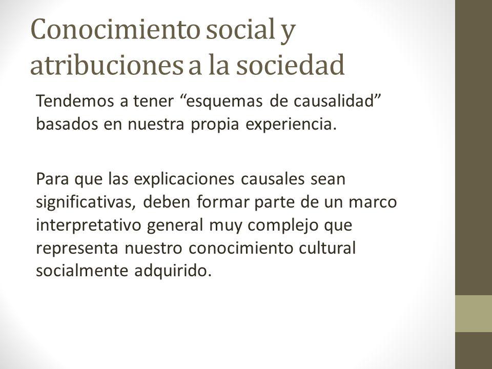 Conocimiento social y atribuciones a la sociedad Tendemos a tener esquemas de causalidad basados en nuestra propia experiencia. Para que las explicaci