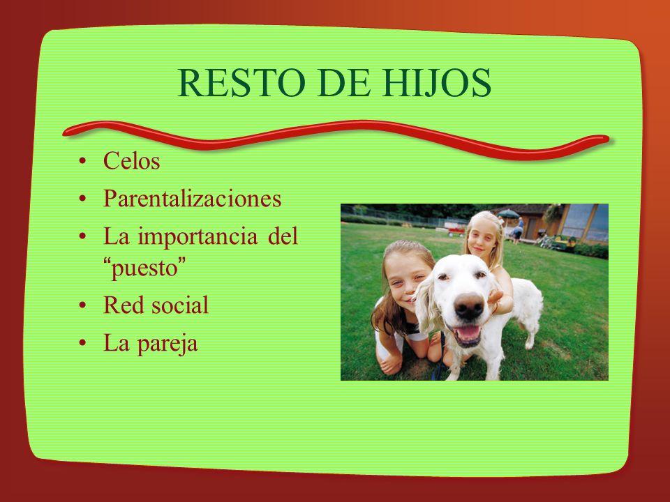 RESTO DE HIJOS Celos Parentalizaciones La importancia del puesto Red social La pareja