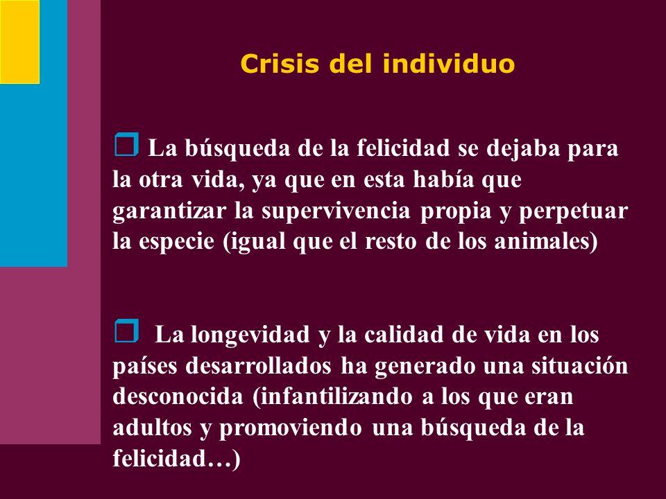 Crisis del individuo La búsqueda de la felicidad se dejaba para la otra vida, ya que en esta había que garantizar la supervivencia propia y perpetuar