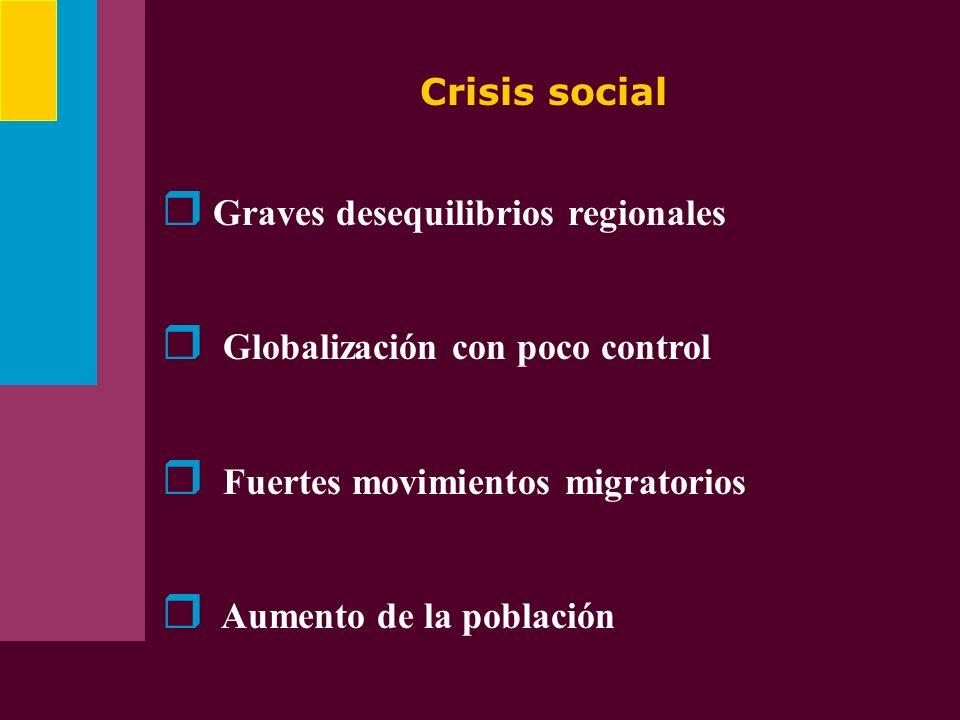 Crisis social Graves desequilibrios regionales Globalización con poco control Fuertes movimientos migratorios Aumento de la población
