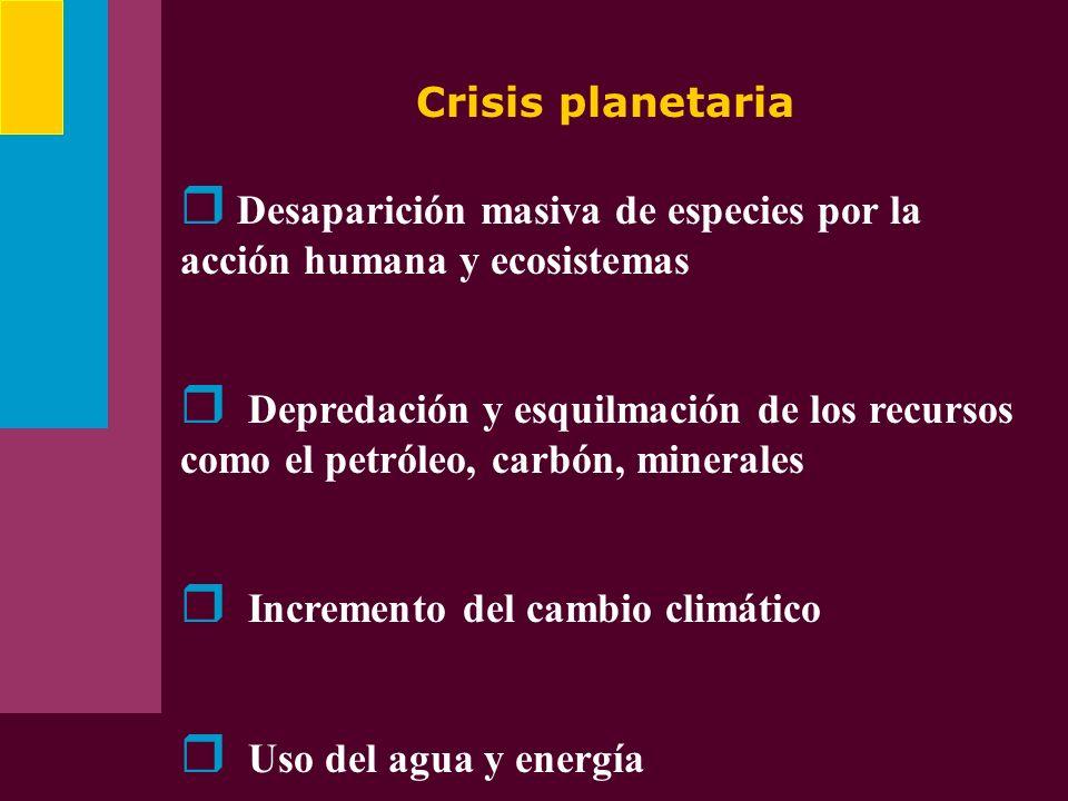 Crisis planetaria Desaparición masiva de especies por la acción humana y ecosistemas Depredación y esquilmación de los recursos como el petróleo, carb