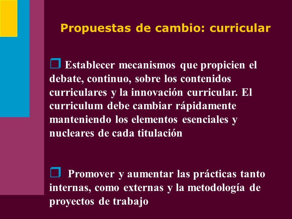 Propuestas de cambio: curricular Establecer mecanismos que propicien el debate, continuo, sobre los contenidos curriculares y la innovación curricular