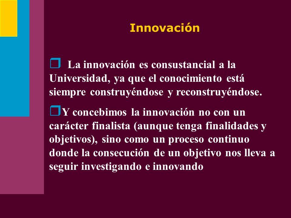 Innovación La innovación es consustancial a la Universidad, ya que el conocimiento está siempre construyéndose y reconstruyéndose. Y concebimos la inn