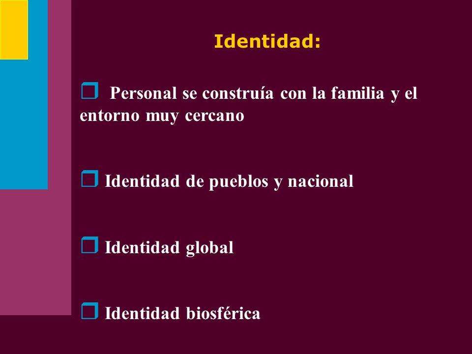 Identidad: Personal se construía con la familia y el entorno muy cercano Identidad de pueblos y nacional Identidad global Identidad biosférica