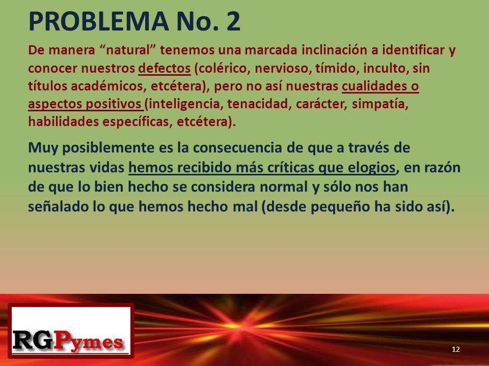 PROBLEMA No. 2 De manera natural tenemos una marcada inclinación a identificar y conocer nuestros defectos (colérico, nervioso, tímido, inculto, sin t