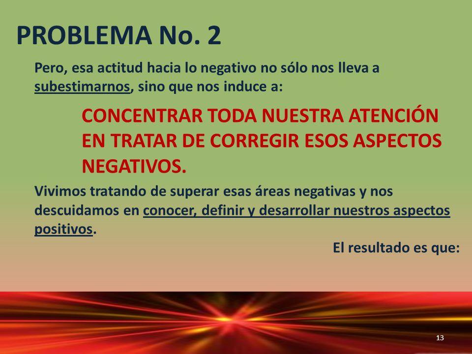 PROBLEMA No. 2 Pero, esa actitud hacia lo negativo no sólo nos lleva a subestimarnos, sino que nos induce a: CONCENTRAR TODA NUESTRA ATENCIÓN EN TRATA