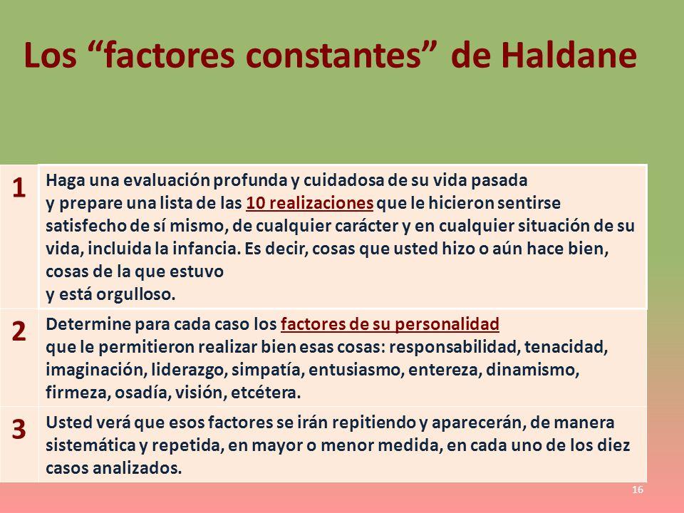 Los factores constantes de Haldane 1 Haga una evaluación profunda y cuidadosa de su vida pasada y prepare una lista de las 10 realizaciones que le hic