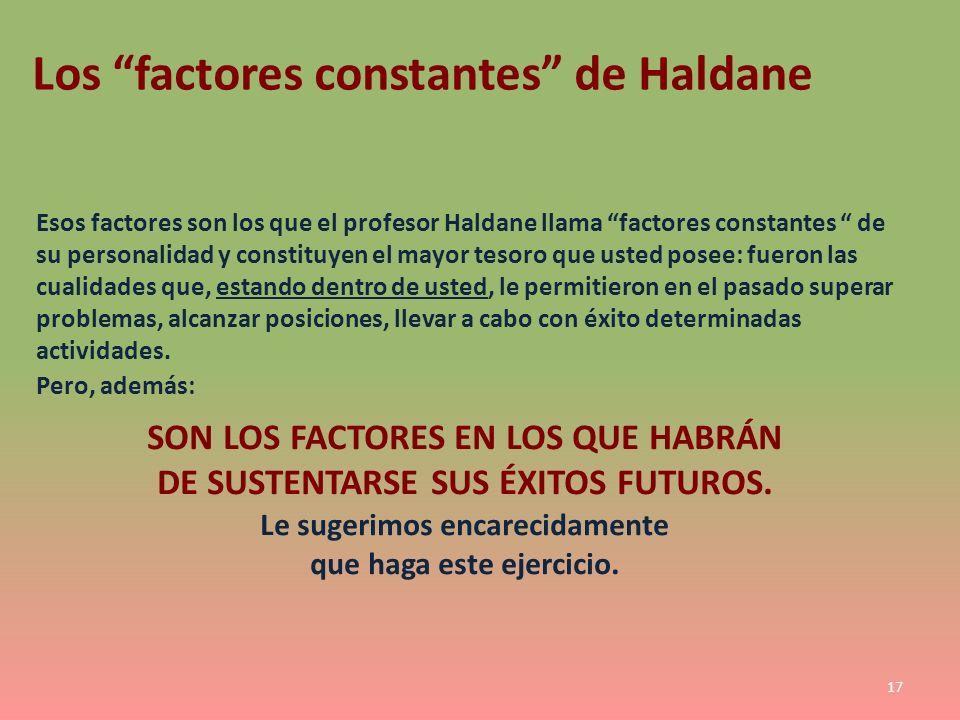 Los factores constantes de Haldane Esos factores son los que el profesor Haldane llama factores constantes de su personalidad y constituyen el mayor t