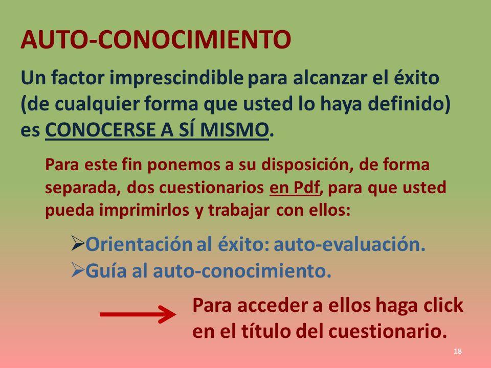 AUTO-CONOCIMIENTO Un factor imprescindible para alcanzar el éxito (de cualquier forma que usted lo haya definido) es CONOCERSE A SÍ MISMO. Para este f