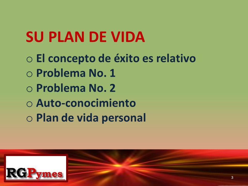 SU PLAN DE VIDA o El concepto de éxito es relativo o Problema No. 1 o Problema No. 2 o Auto-conocimiento o Plan de vida personal 3