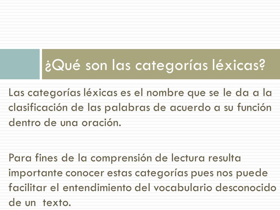 En inglés se conoce a esta clasificación como PARTS OF SPEECH y se hace la siguiente distinción de las palabras: NOUN (SUSTANTIVO)PRONOUN (PRONOMBRE) VERB (VERBO)PREPOSITON (PREPOSICIÓN) ADJECTIVE (ADJETIVO)CONJUNCTION (CONECTOR) ADVERB (ADVERBIO) INTERJECTION (INTERJECCIÓN) ¿Cuáles son los tipos de palabras?