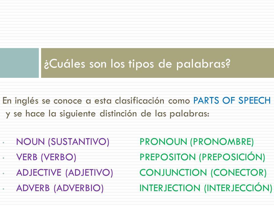 En inglés se conoce a esta clasificación como PARTS OF SPEECH y se hace la siguiente distinción de las palabras: NOUN (SUSTANTIVO)PRONOUN (PRONOMBRE)