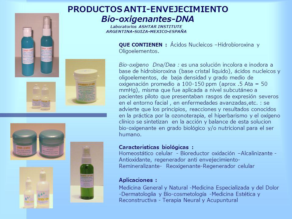 PRODUCTOS ANTI-ENVEJECIMIENTO Bio-oxigenantes-DNA Laboratorios ASHTAR INSTITUTE ARGENTINA-SUIZA-MEXICO-ESPAÑA QUE CONTIENEN : Ácidos Nucleicos –Hidrob