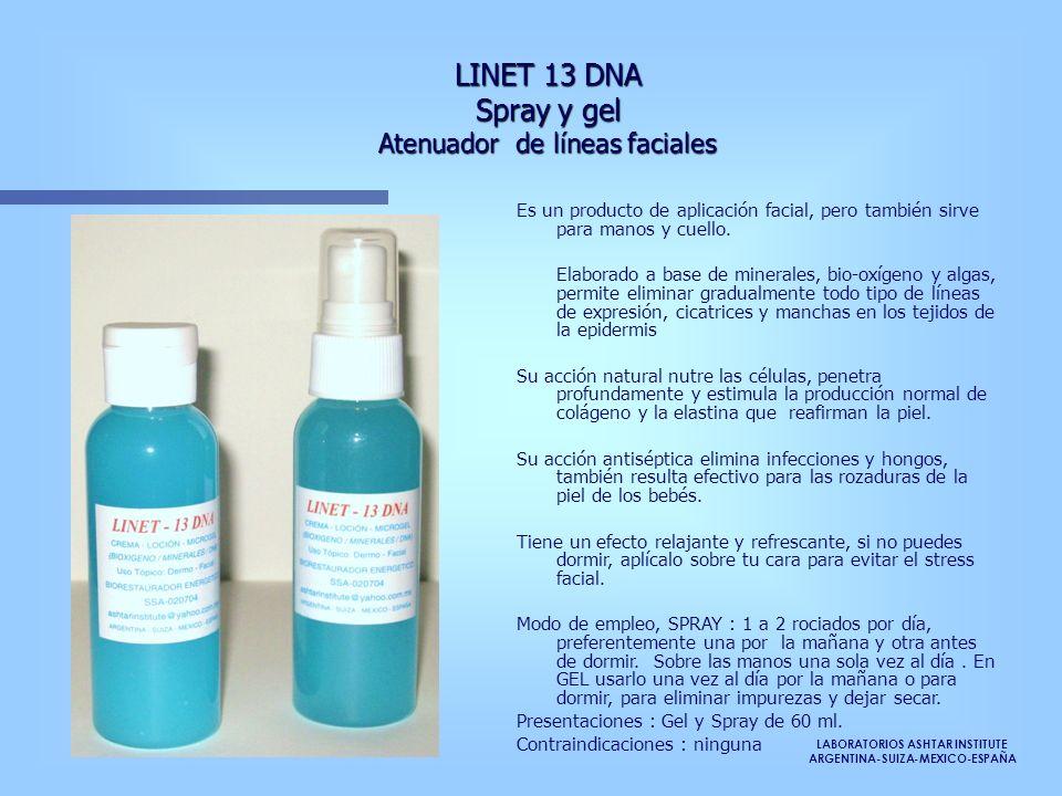 LINET 13 DNA Spray y gel Atenuador de líneas faciales Es un producto de aplicación facial, pero también sirve para manos y cuello. Elaborado a base de