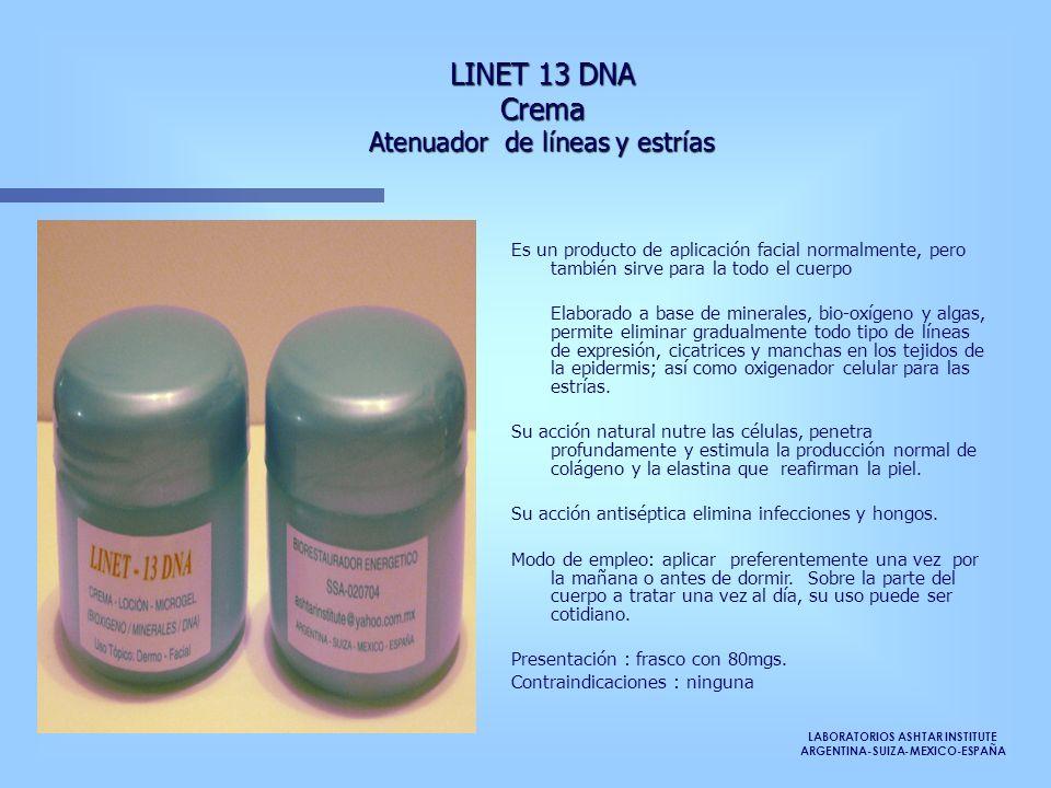 LINET 13 DNA Crema Atenuador de líneas y estrías Es un producto de aplicación facial normalmente, pero también sirve para la todo el cuerpo Elaborado