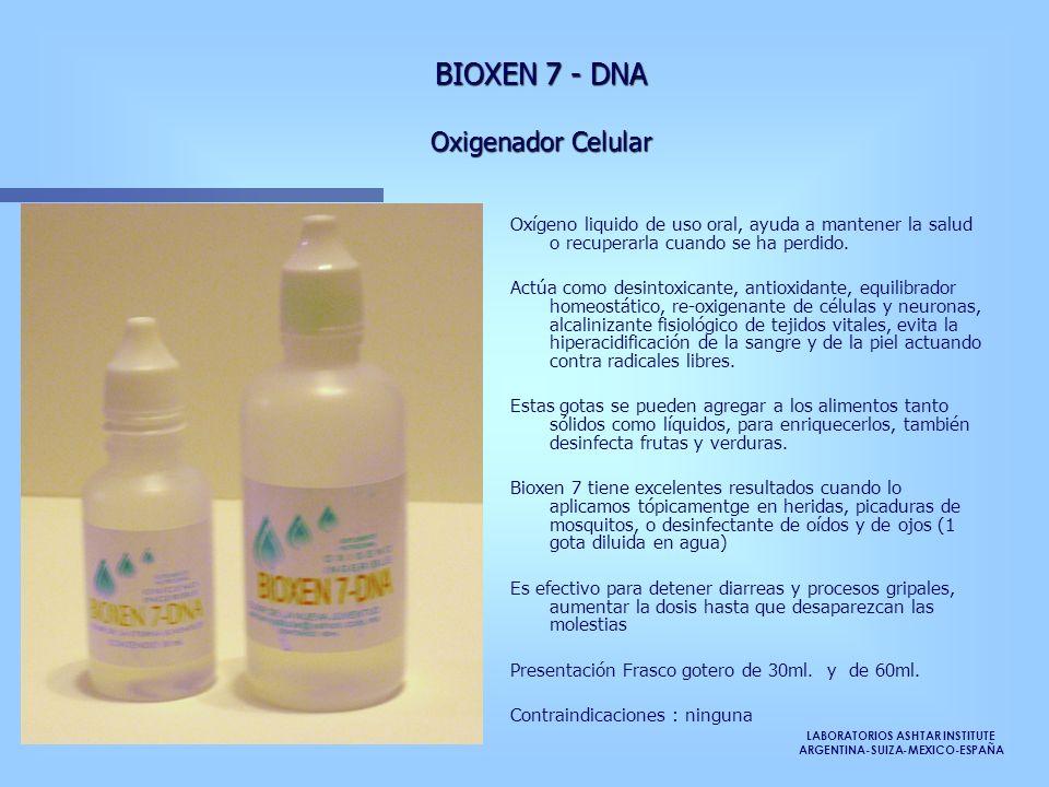 LABORATORIOS ASHTAR INSTITUTE ARGENTINA-SUIZA-MEXICO-ESPAÑA Oxígeno liquido de uso oral, ayuda a mantener la salud o recuperarla cuando se ha perdido.