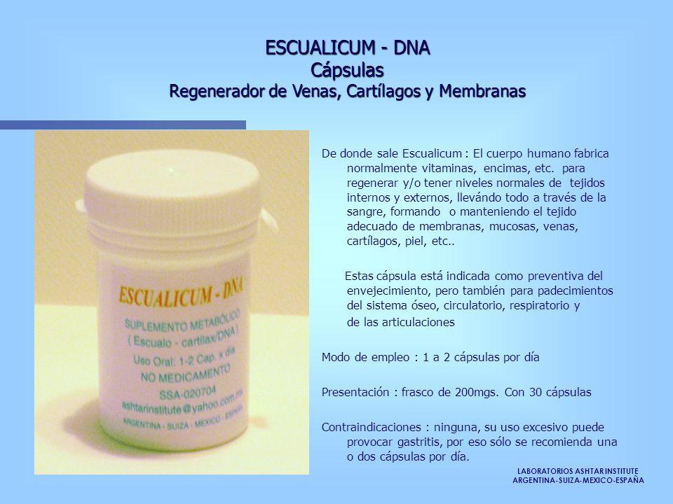 LABORATORIOS ASHTAR INSTITUTE ARGENTINA-SUIZA-MEXICO-ESPAÑA ESCUALICUM - DNA Cápsulas Regenerador de Venas, Cartílagos y Membranas De donde sale Escua