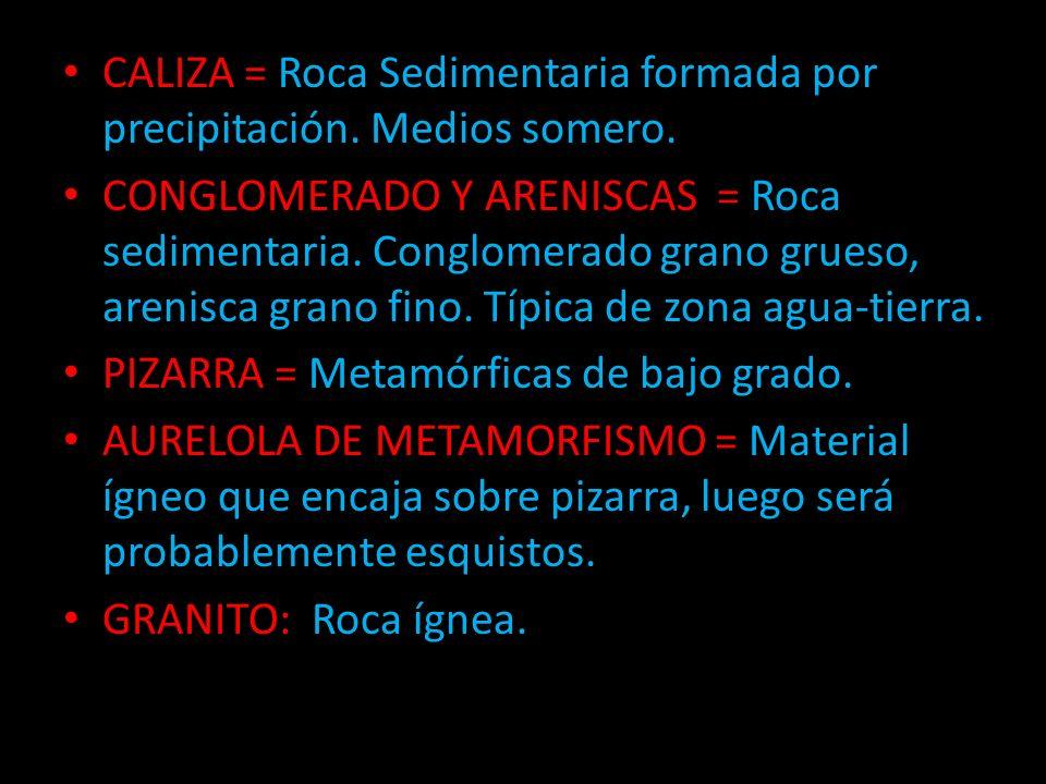 CALIZA = Roca Sedimentaria formada por precipitación. Medios somero. CONGLOMERADO Y ARENISCAS = Roca sedimentaria. Conglomerado grano grueso, arenisca