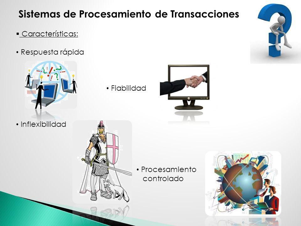 Características: Respuesta rápida Fiabilidad Inflexibilidad Procesamiento controlado Sistemas de Procesamiento de Transacciones