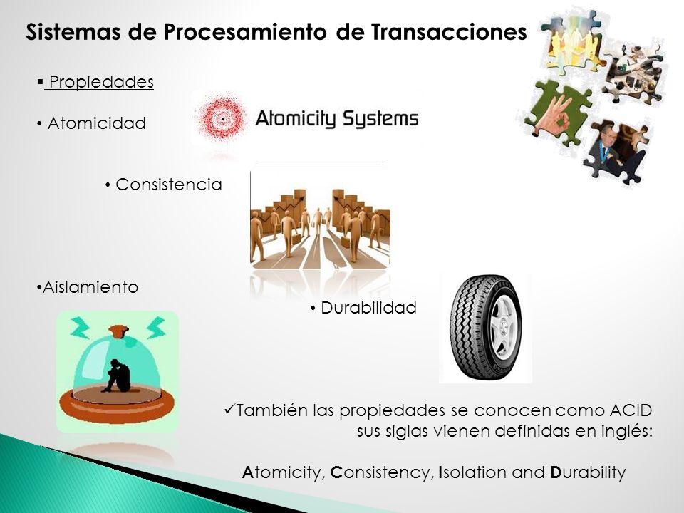 Propiedades Atomicidad Consistencia Aislamiento Durabilidad También las propiedades se conocen como ACID sus siglas vienen definidas en inglés: A tomi