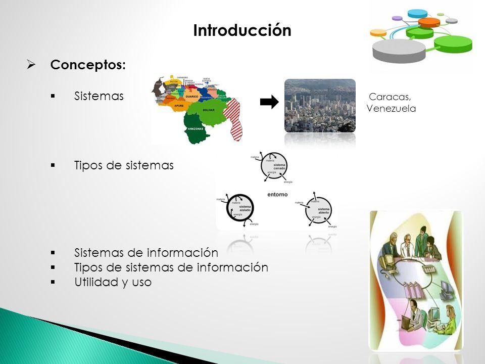 Introducción Conceptos: Sistemas Caracas, Venezuela Tipos de sistemas Sistemas de información Tipos de sistemas de información Utilidad y uso